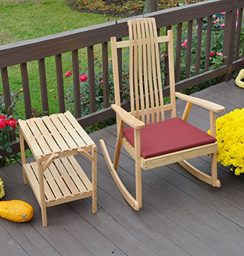 Rustic Porch Rocking Chair with Side Table Set, 1 Wood Rocker with Accent Table for Indoor Outdoor Covered Patio Porches, Hand Bent Slat Wood Amish Furniture Sets for Country - Contemporary Decor