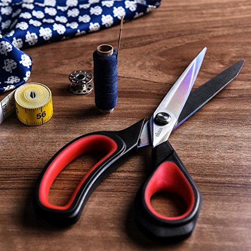 LIVINGO 2 Pack Premium Tailor Scissors Heavy Duty MultiPurpose Titanium Coating Forged Stainless