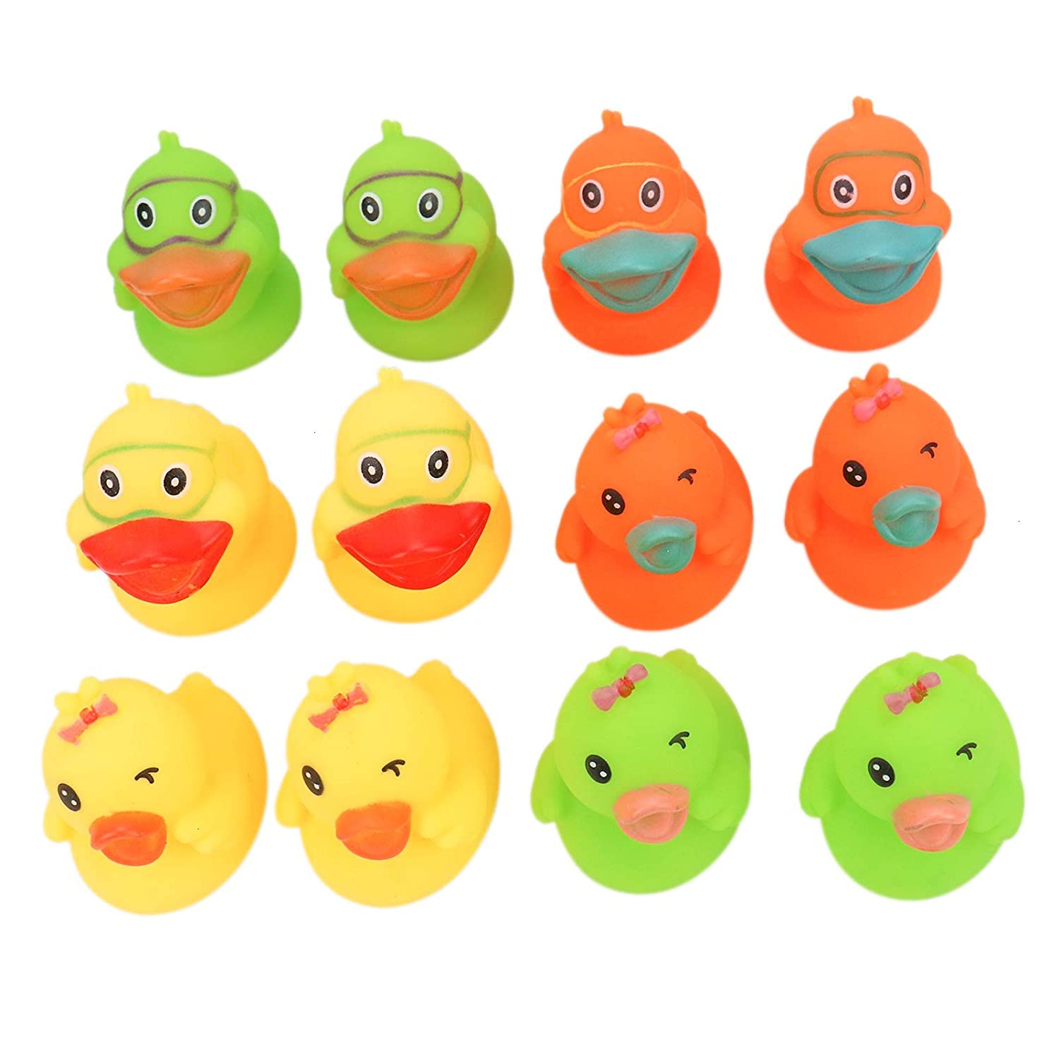WSSROGY 12 Pack Novelty Cute Float /& Squeak Duck Colored Soft Rubber Baby Wash Shower Bath Toys for Kids Boys and Girls Toddlers