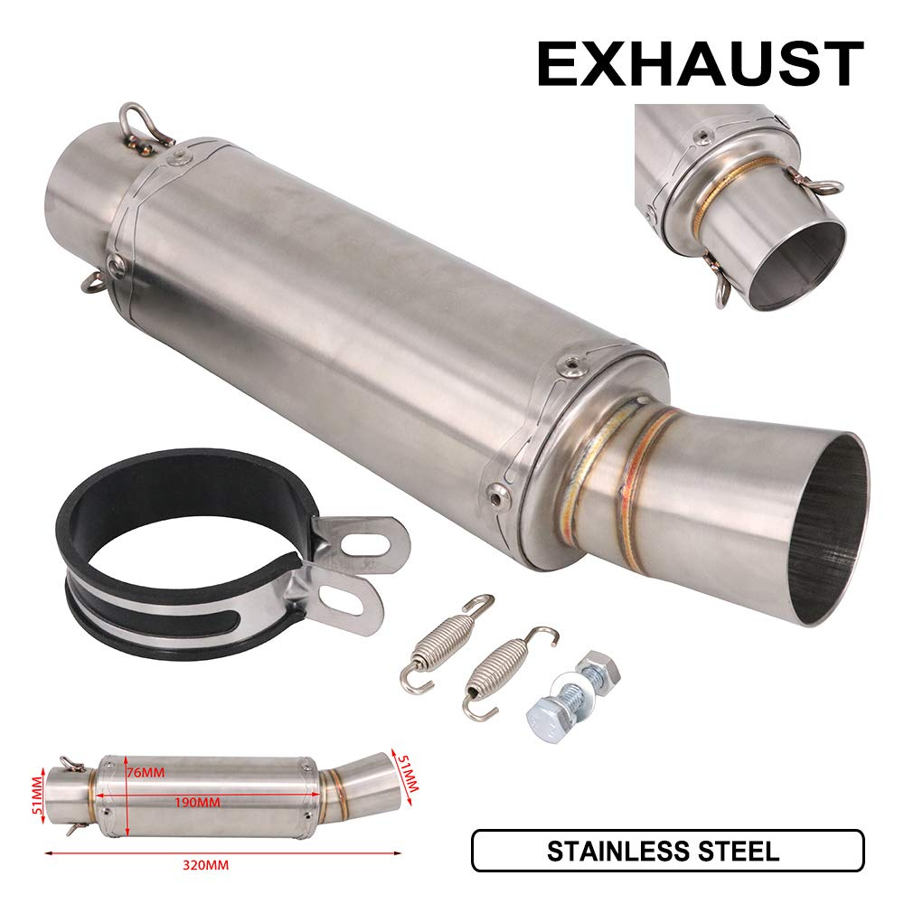 Motorcycle Universal 2 inch 320mm Exhaust Pipe Muffler Stainelss steel Mufflers With Hardware For Dirtbike Street Bike Dirt Pit Bike Scooter ATV Quad
