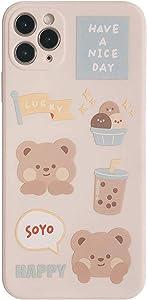 YLFC Sweet Bubble Tea Milk Tea Bear Phone Case for iPhone 12 11 Pro Max XS MAX XR X 7 8 Plus 12 Mini 7Plus Case Cute Soft Cover (Color : 01, Size : for iPhone 8 Plus)