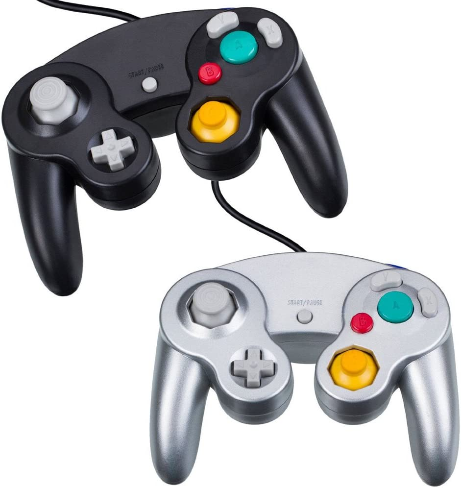 NewBull Controlador Mando de Juego con Cable Clásico Joypad Gamepad para Gamecube GC -Negro y Plata