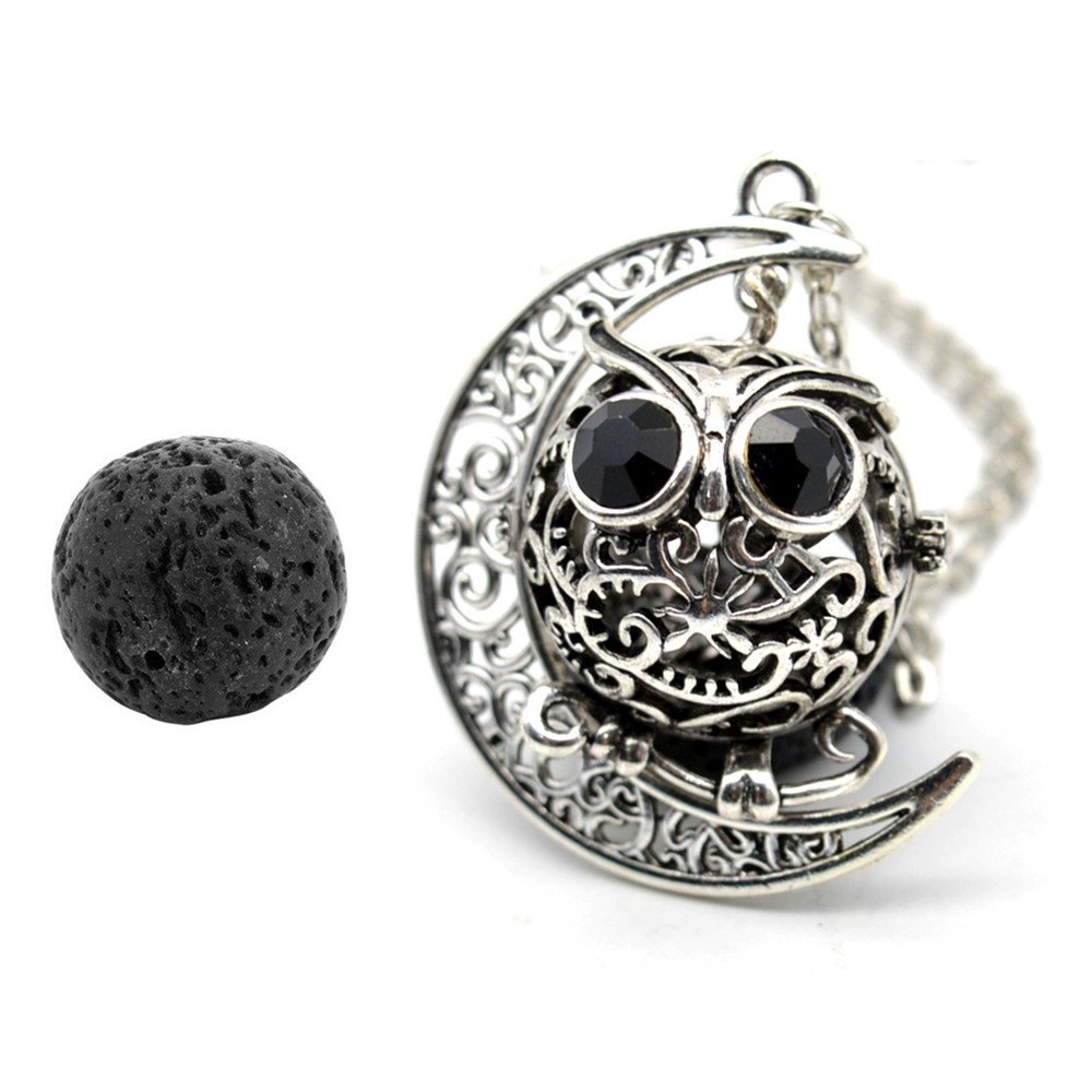 GraceAngie Antique Silver Owl Diffuser Locket Pendant Necklace Aromatherapy Essential Oil Cage Locket with Lava Beads CJ409-A+CJ401