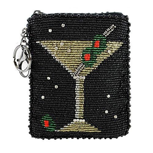 (MARY FRANCES Martini Beaded Coin Purse-Key Fob)