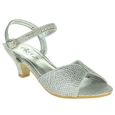 2a3c00b76 AARZ LONDON Girls Kids Children Crystal Peep Toe Low Heel Diamante Ankle  Strap Evening Wedding Party Sandal Shoes Size: Amazon.co.uk: Shoes & Bags