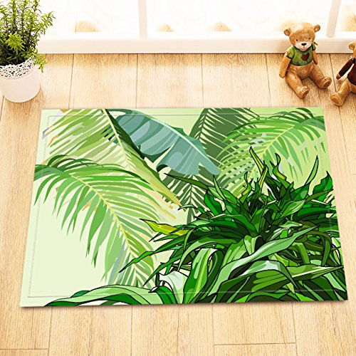 LB Tropical Jungle Tree Plant Leaves Rugs for Bathroom Floor, Soft Microfiber Surface Non Slip Backing, Banana Easter Palm Leaf Rug 15 x 23 Inches