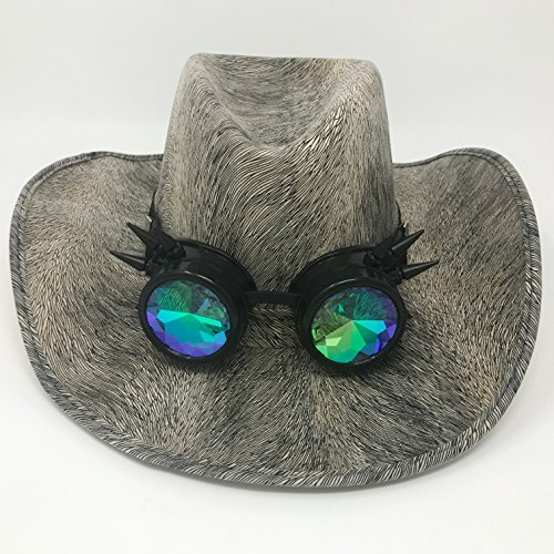 Victorian Willy Wonka Costume (Kopper Tops White Snakeskin Cowboy Hat With Spiked Kaleidoscope Goggles, Steampunk Costume)