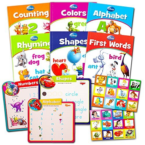 Disney Learning Books Set for Toddlers Kids -- 6 Educational Books, Matching Game, 3 Learning Mats (ABCs, 123s, Shapes, Colors and More!) ()