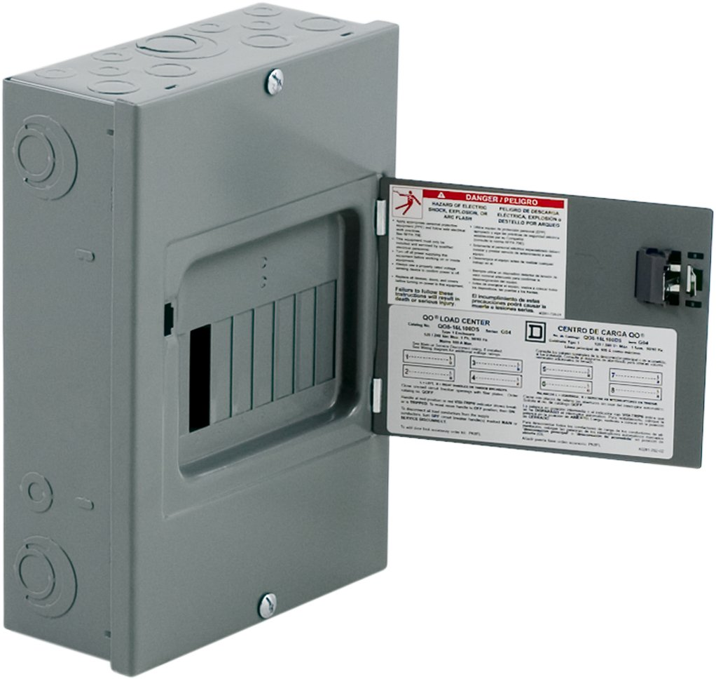 Square D By Schneider Electric Qo816l100ds Qo 100 Amp 8 Space 16 Homeline Load Center Wiring Diagram 70a Circuit Indoor Surface Mount Main Lugs With Cover And Door Breaker