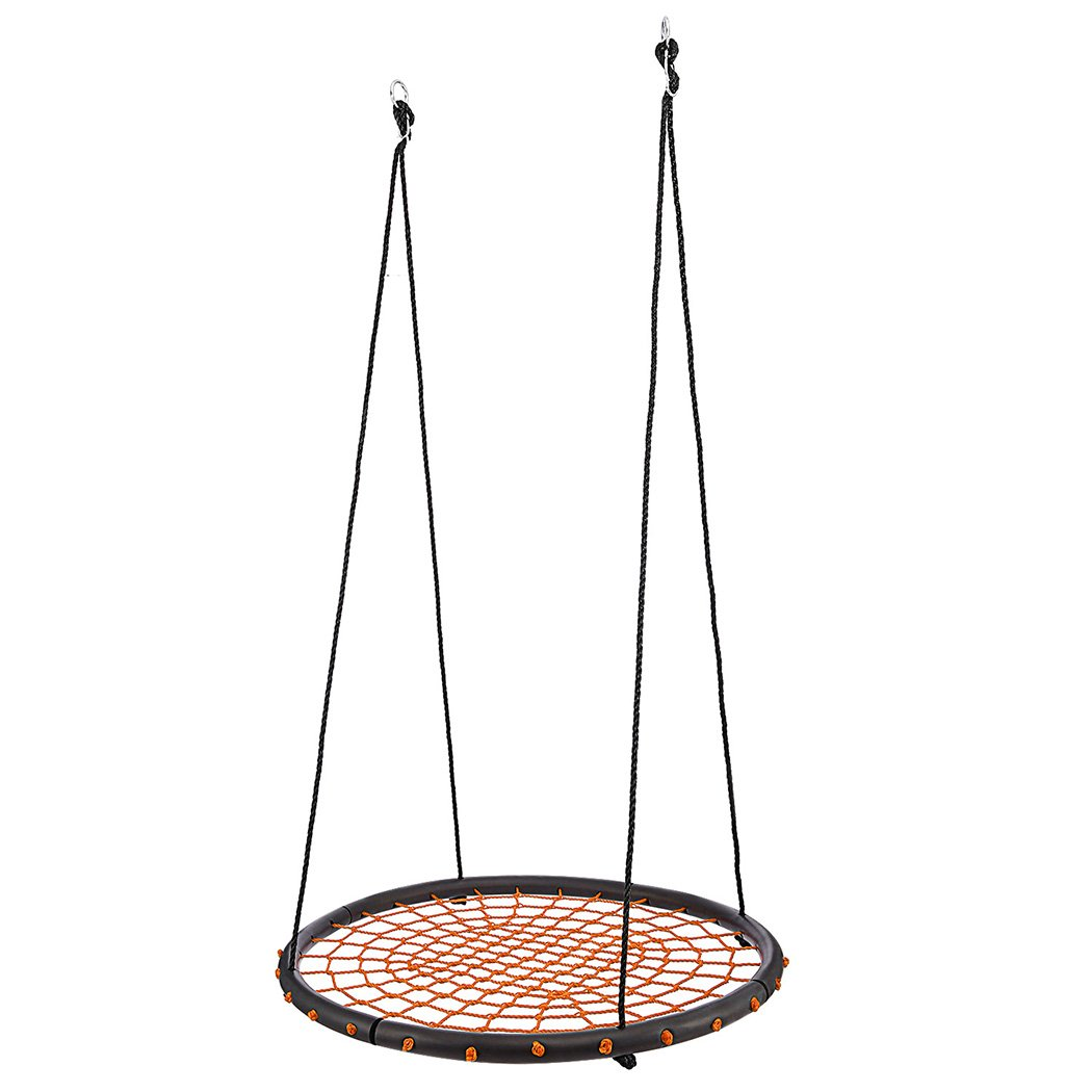 Bluefringe Round Web Swing,40 Inch Net Spider Web Round Swing-Indoor/Outdoor Web Swing - Create Your Own Outdoor Backyard Playground - for Kids, Adults and Teens,Includes Durable Hanging Kit