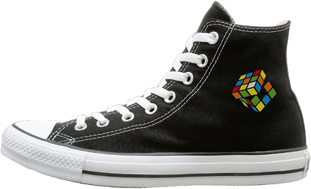 Aiguan Rubiks Cube Canvas Shoes High Top Casual Black Sneakers Unisex Style