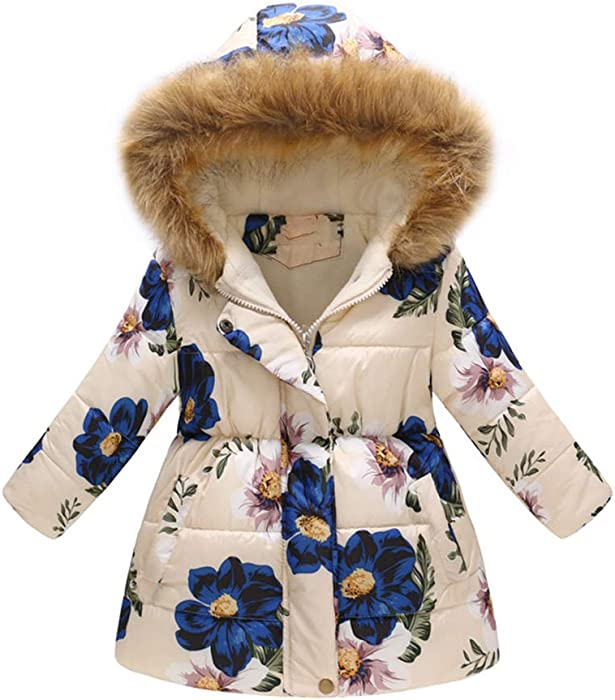 7a3a6479df8a Amazon.com  Jesfe Girls  Winter Puffer Jacket with Thick Fur Hooded ...