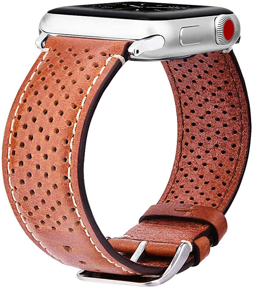 Warewel Compatible Apple Watch Leather Band 40mm 38mm 44mm 42mm, Genuine Breathable Leather Apple Watch Band Leather Strap, Compatible With Apple Watches Series 6 5 4 3 2 1 SE Sport