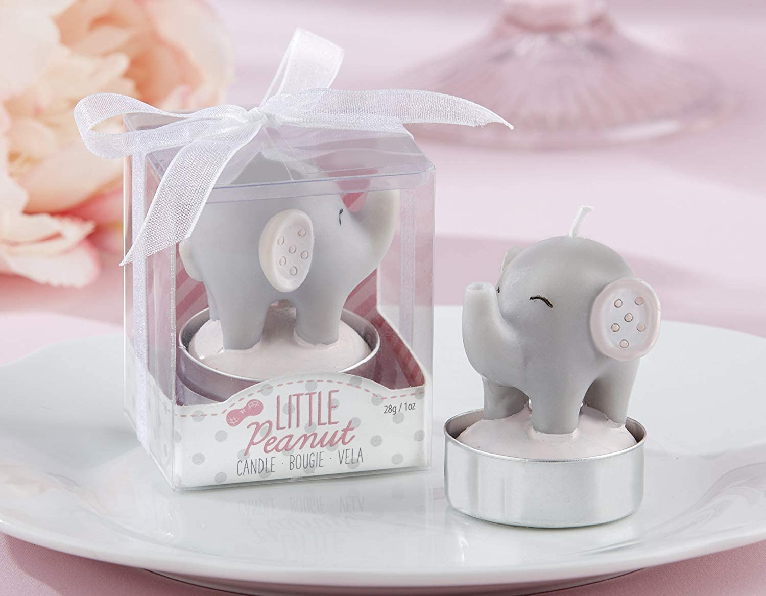 Kate Aspen Little Peanut Elephant Shaped Candle (2 Set of 4, 8 Pieces) - Guest Gift, Party Favor or Decorations for Baby Showers & Birthdays