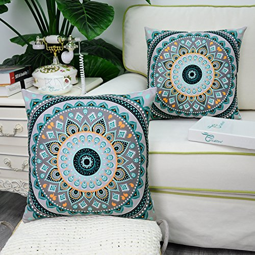 CaliTime Pack of 2 Soft Canvas Throw Pillow Covers Cases for Couch Sofa Home Decor, Retro Mandala Pattern Compass Medallion, 18 X 18 Inches