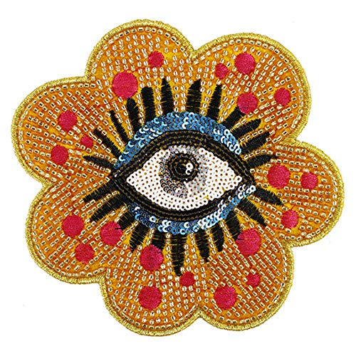 1 Pcs Fashion Beaded Sun Flower Badges Sequin Eyes Patches Applique Clothes Pants Embroidery Decorated Sewing Supplies (Style 12)