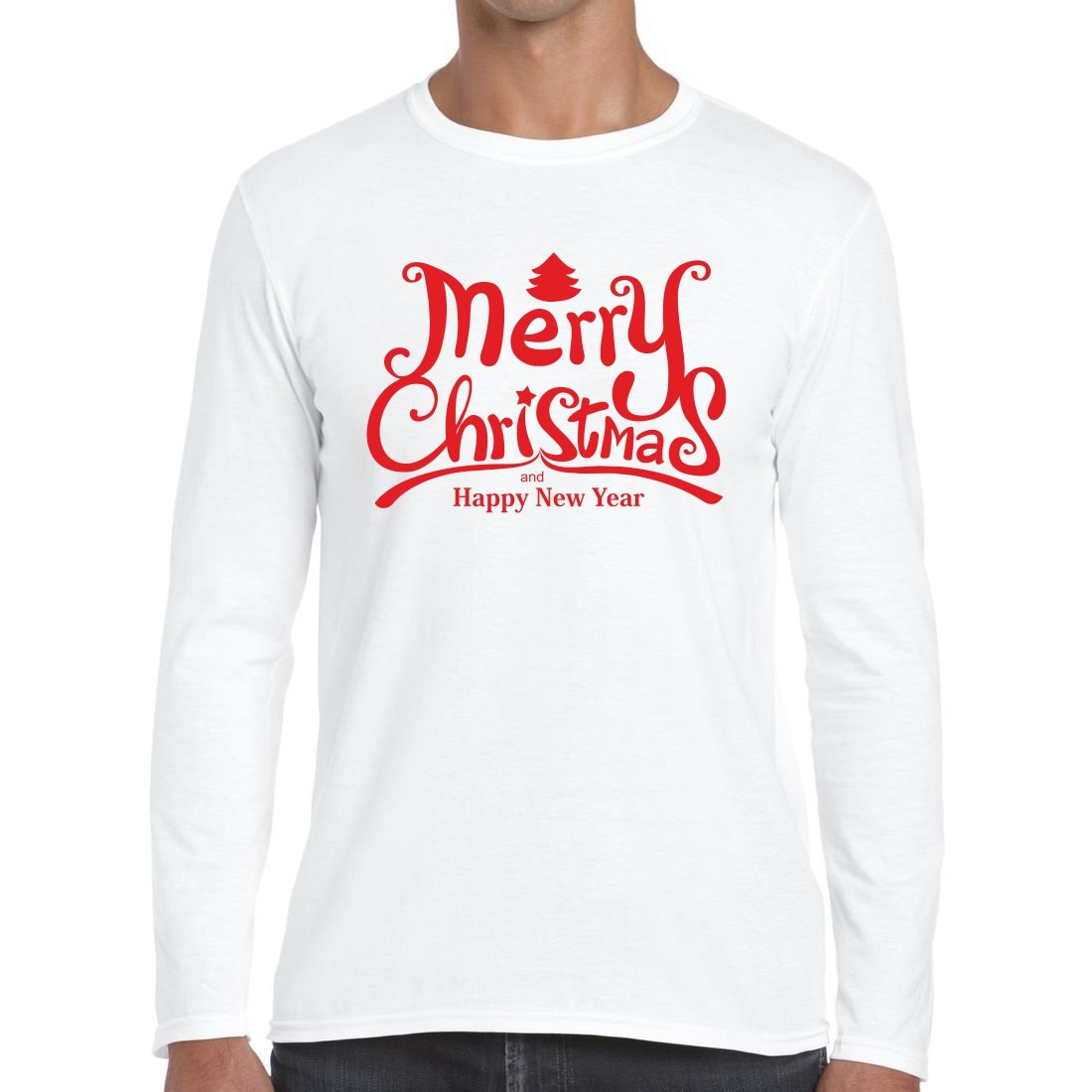 Merry Christmas and Happy New Year T Shirt Long Sleeve T-Shirt Tee:  Amazon.co.uk: Clothing