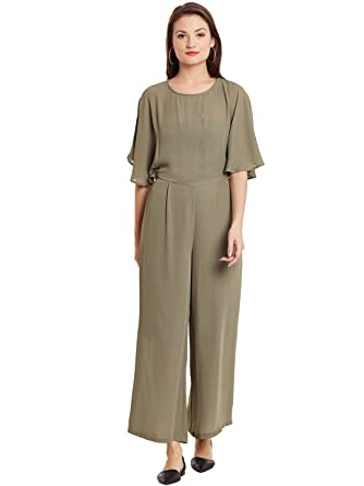 1ac2928d4dce Global Colours Double Layered Jumpsuit with Cross Overlap Back and Elasticated  Back Waist X-Large