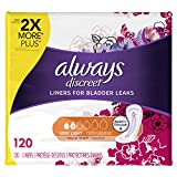 always regular panty liners - Always Discreet, Incontinence Liners, Very Light, Regular Length, 120 Count