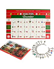 Advent Calendar DIY Bracelet Necklace Set with 22 Charms Fashion Jewelry Countdown Advent Calendars for Kids Christmas Theme Gifts