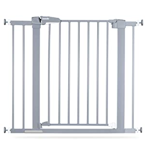 BABELIO Metal Baby Gate Easy Install Pressure Mounted, 26-40 Inch Child Gate No Drilling, Extra Wide with Wall Protectors, Ideal for Narrow Stair or Doorway, Gray