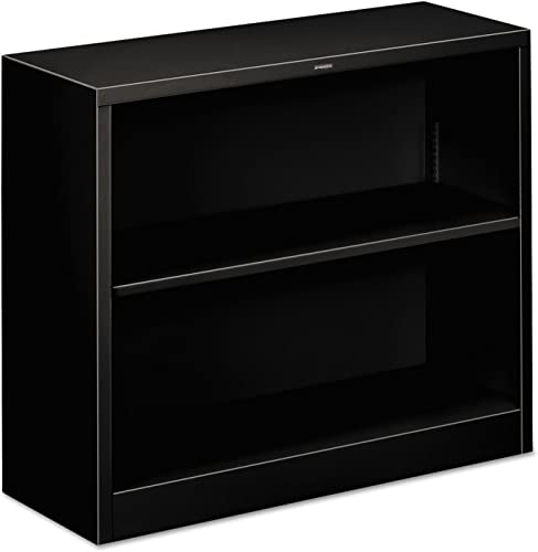 HON Brigade Steel Bookcase, 2 Shelves, Black