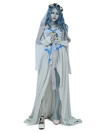 cosplayfm adult ghost bride halloween costume skeleton cosplay grey