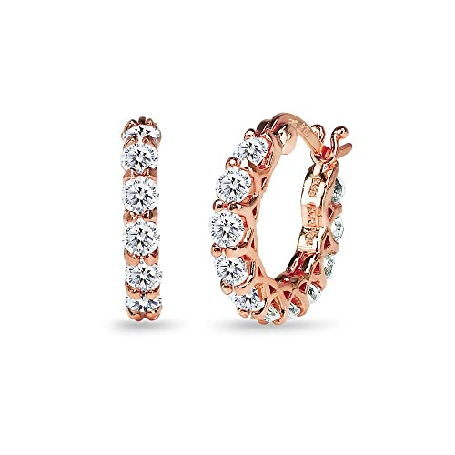 Rose Gold Flashed Sterling Silver 16mm Round Small Huggie Hoop Earrings Made with Swarovski Zirconia