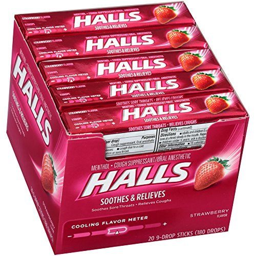 Halls Strawberry Cough Drops - with Menthol - 180 Drops (20 sticks of 9 drops)