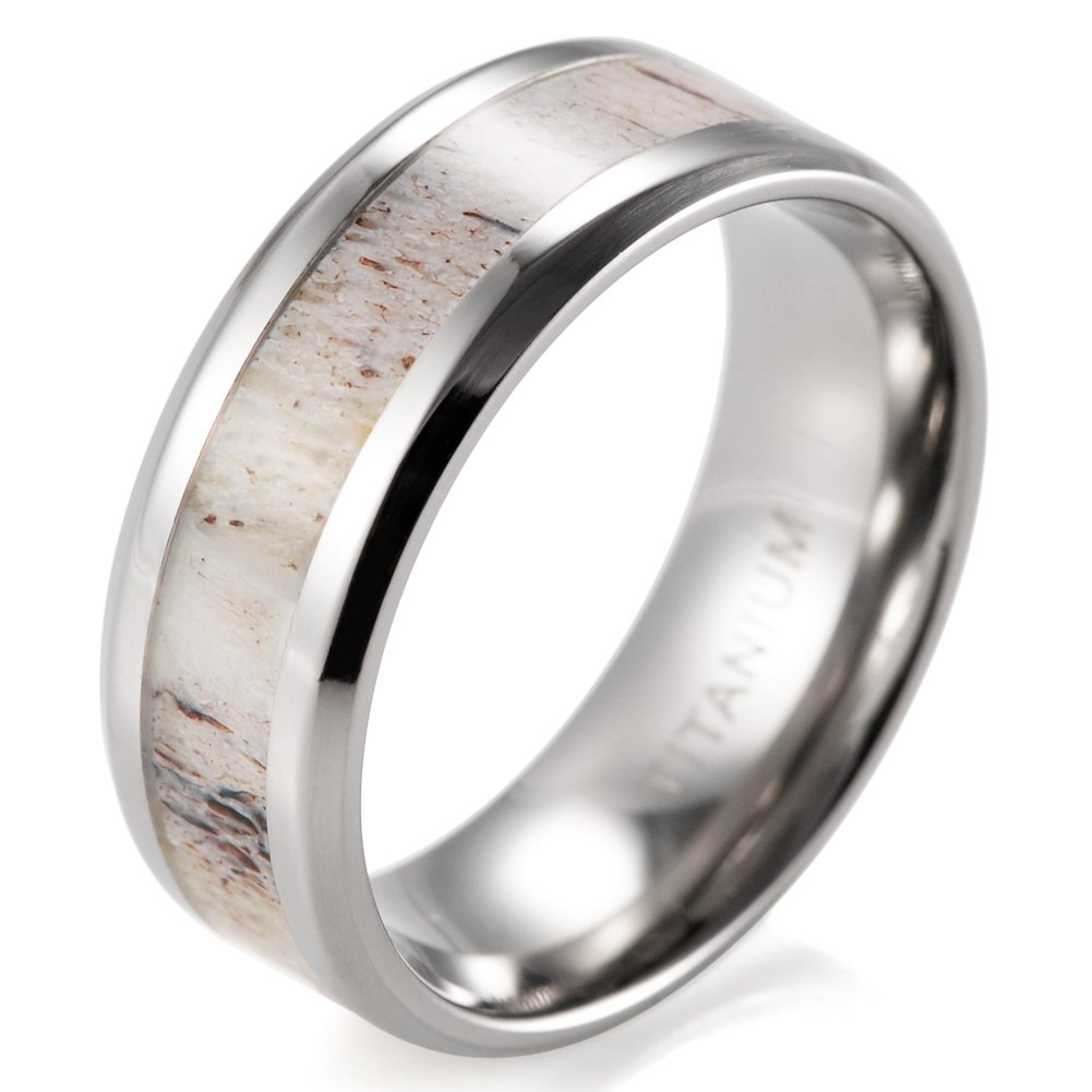 SHARDON Men's 8mm Beveled Edge Titanium Wedding Ring with Real Deer Antler Inlay Size 10