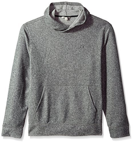 Calvin Klein Jeans Men's Brushed Cozy Crossover Hoodie, Racetrack Heather, Medium by Calvin Klein