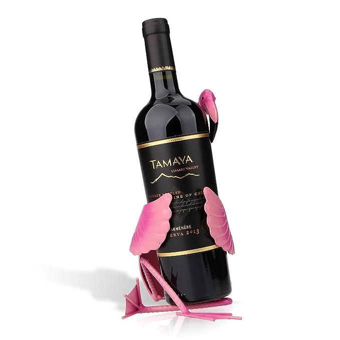 Tooarts - Soporte para Vino - Dulce Sueño - Botellero Forma de Flamenco del Estilo Metálico para la Decoración del Hogar Bar (Artesanía de Hierro,Color ...