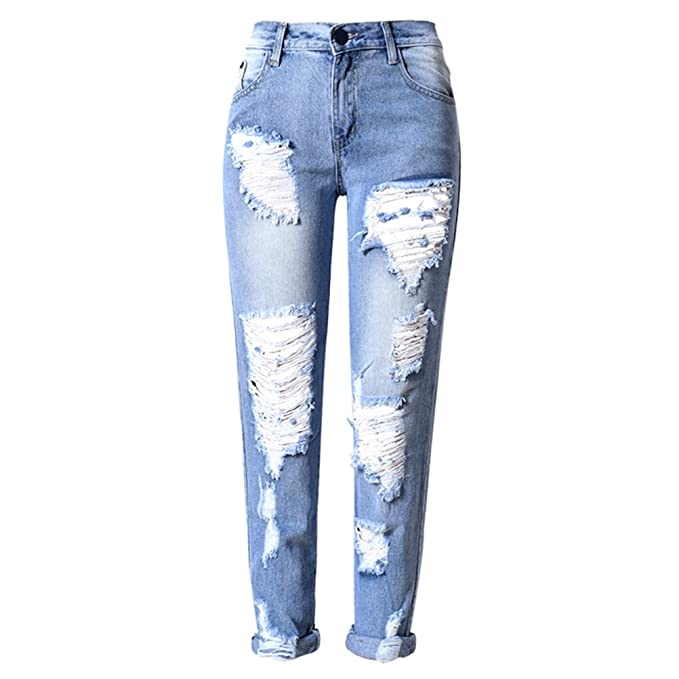 Zhhlinyuan Azul Elástico Mezclilla Pantalones Único Estilo ...