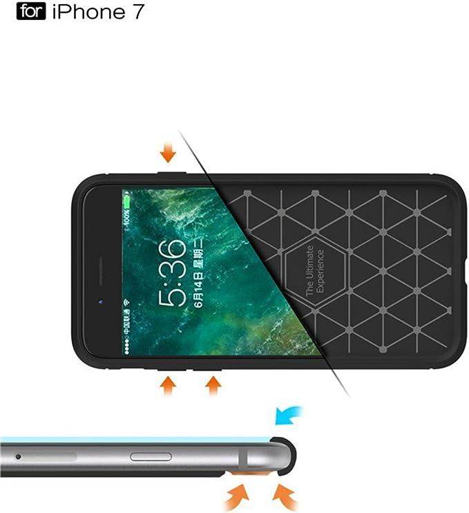iPhone 8 Funda para iPhone 7 7Plus 8 8 Plus X caso, + HD Protector de pantalla de cristal templado película Kit, de fibra de carbono patrón de dibujo suave trasera de