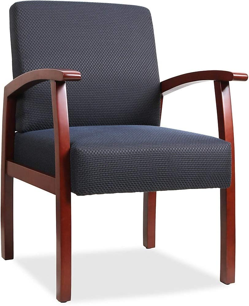 Lorell Guest Chairs, 24 by 25 by 35-1/2-Inch, Cherry/Midnight Blue