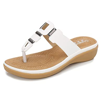 437b2f62c24a Wollanlily Women Summer Beach Flat Sandals Bohemia Flip-Flop Ankle Strap  Thong Shoes (5.5