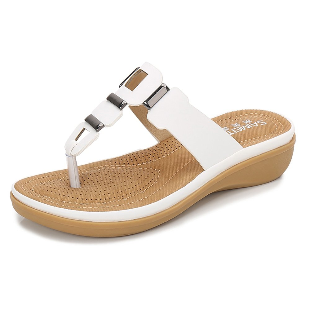 Wollanlily Women Summer Beach Flat Sandals Bohemia Flip-Flop Ankle Strap Thong Shoes White-03 US 8