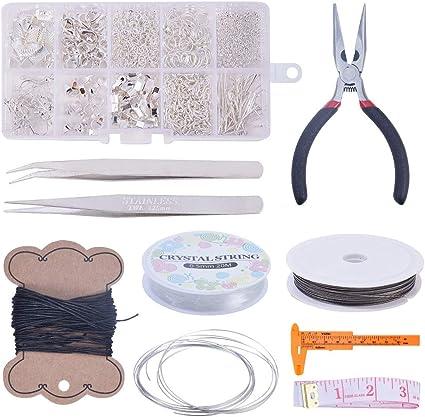 bricolaje hecho a mano de adultos y principiantes plata hacer pendientes hacer pulseras juego de joyer/ía para hacer abalorios Kit de accesorios para hacer joyas