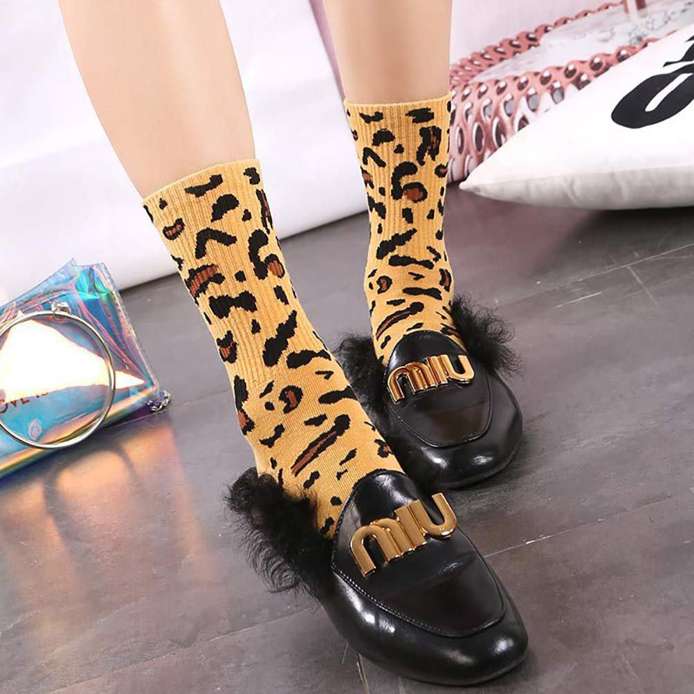 ENCOCO 5 Pairs Women Men Winter Socks Leopard Zebra Print Soft Warm Casual Knit Crew Cotton Socks