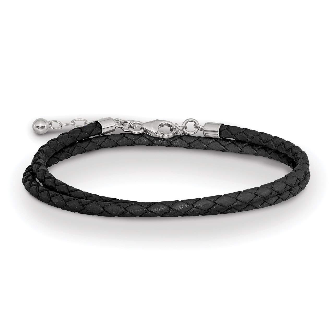 Lex & Lu Sterling Silver Reflections Black Leather 14in w/2'' Ext Choker/Wrap Bracelet-Prime
