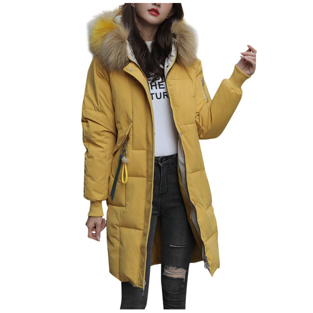Pandaie Women Down Jacket Long Winter Parka Jacket Hooded Quilted Thicken Warm Puffer Trench Coat Outwear Yellow by Pandaie