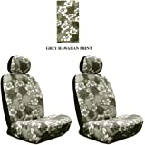Grey Hawaiian Hawaii Aloha Print with White Hibiscus Flowers Wild Series 2PC Car Truck SUV Auto Head Rest Covers with Front Seat Low Back Bucket Seat Covers - PAIR