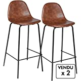 Atmosphera Lot de 2 chaises de Bar - Style Industriel - Coloris Marron  Vieilli ee394a6467e7