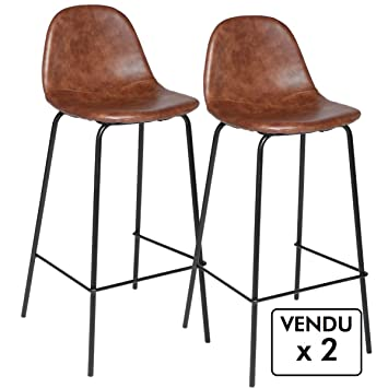 Atmosphera Lot De 2 Chaises De Bar Style Industriel Coloris