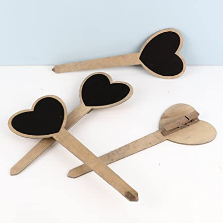 Dibor Set of 4 Wooden Heart Plant Markers Lovely Addition To Mark Up Your Growing Plants H 25 x W of Heart 9.5cm