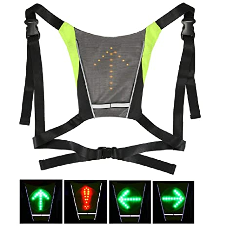 Cycling Vest Cycling Clothings Cycling Bicycle Vest 5 Led Signal Safety Light Indicator Remote Control Outdoor Activities Led Bike Lights Vest Hiking Climbing