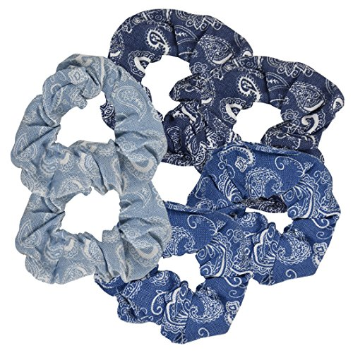 - Denim Paisley Patterned Scrunchy | Set of 6 | Multi