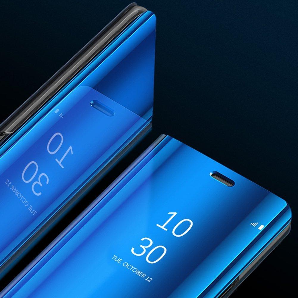 COTDINFOR Samsung Galaxy S8 H/ülle Ledertasche Handyh/ülle M/änner M/ädchen Slim Clear Crystal Spiegel Flip St/änder Etui H/üllen Schutzh/üllen f/ür Samsung Galaxy S8 Plus Mirror PU Gold MX.