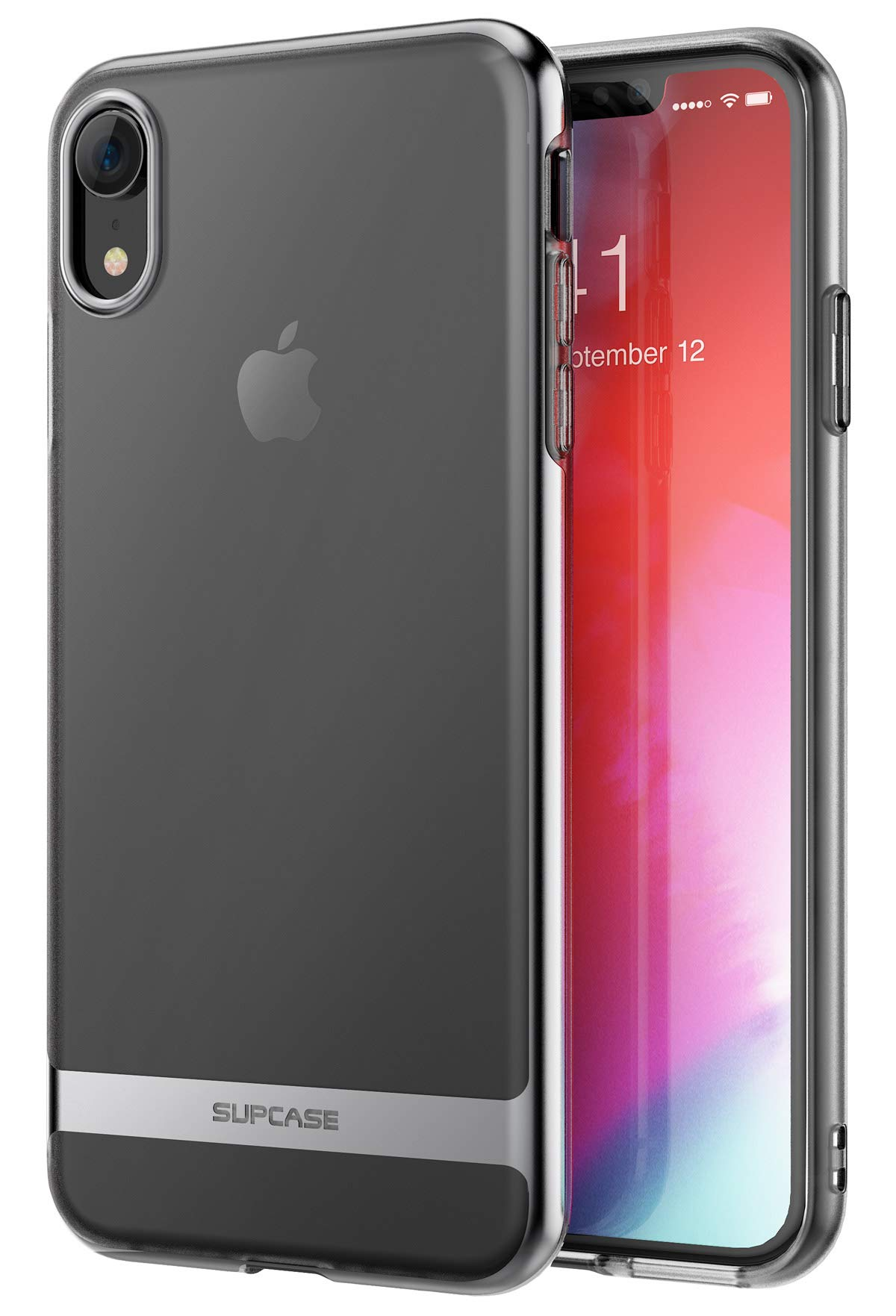 iPhone XR Case, SUPCASE Slim Clear Soft TPU Transparent Premium Protective Cover Supports Wireless Charging for iPhone XR 6.1 Inch (2018 Release) -Unicorn Beetle Metro Series (Black)