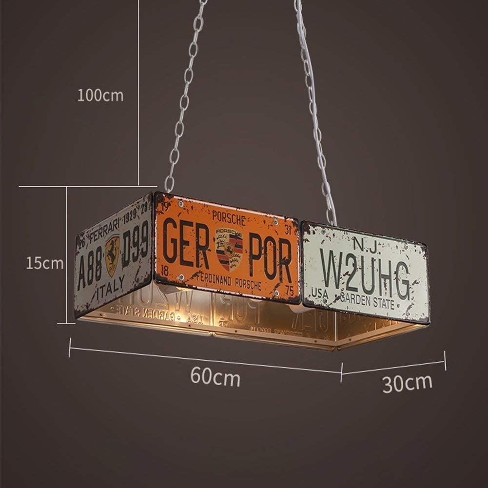 DLINMEI Vintage style industriel plaque dimmatriculation lustre en fer forg/é personnalit/é ennemi am/éricain Bar Restaurant Caf/é lampes nostalgiques